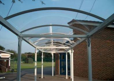 WeatherShield Polycarbonate, Barrel Vaulted Walkway.