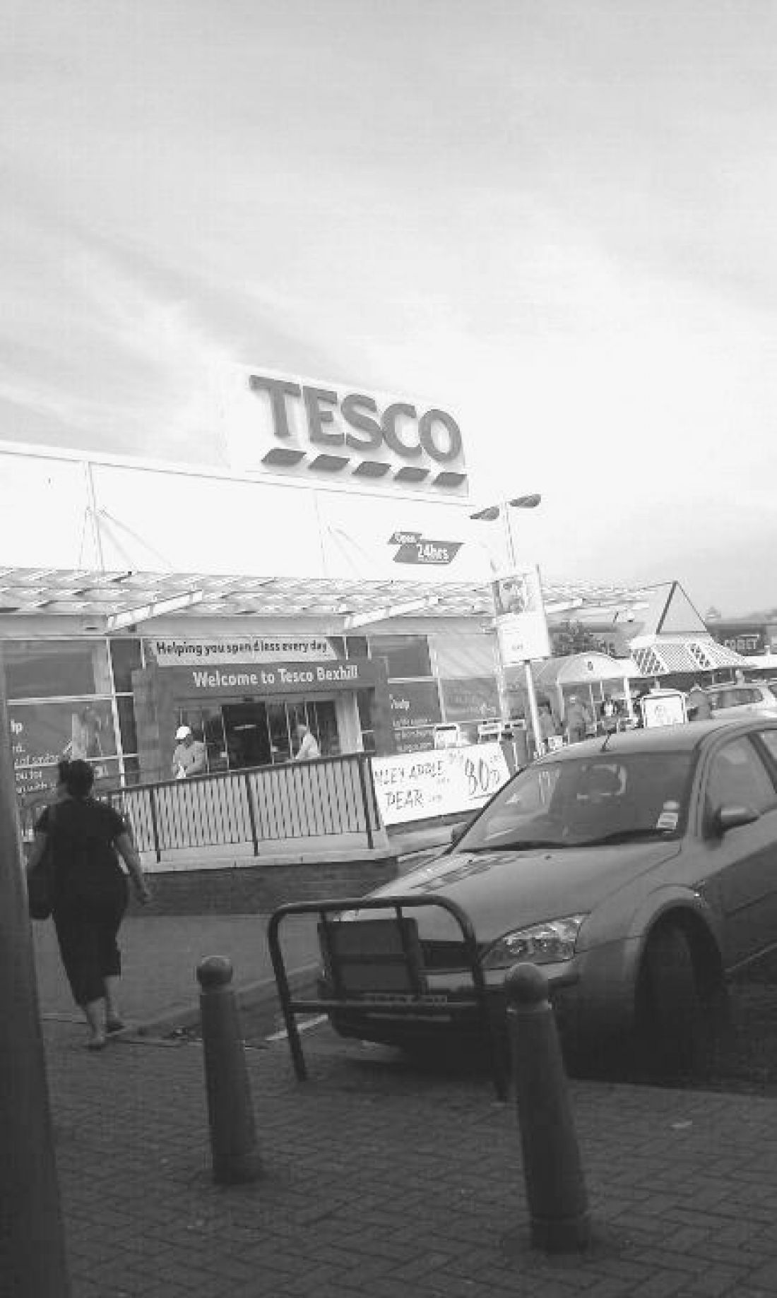 WeatherShield Glass Canopy, Tesco, Bexhill, (Monochrome)